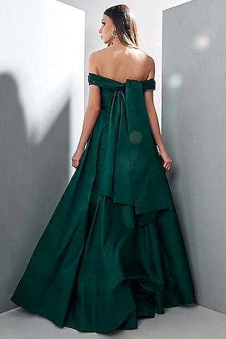 Emerald Green Off Shoulder Gown by Tisharth by Shivani