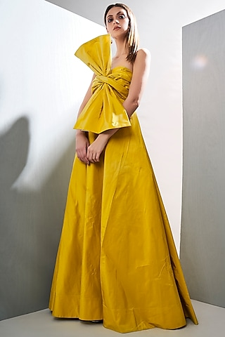Neon Yellow Draped Gown by Tisharth by Shivani