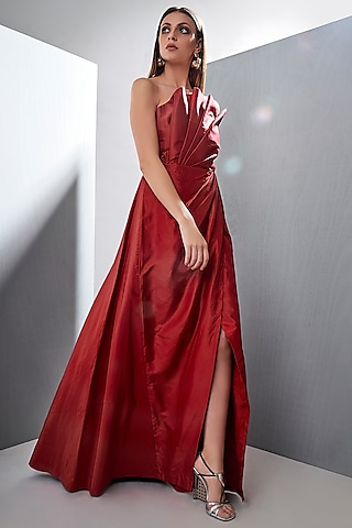 Red Structured Gown With Bow by Tisharth by Shivani