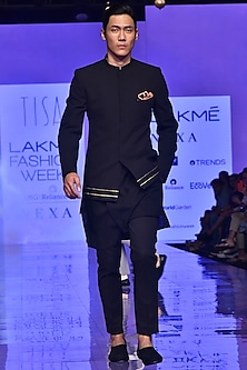 Black Asymmetric Kurta Set by TISA