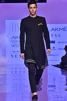Black Asymmetric Sherwani Set by TISA