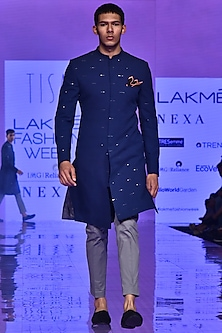 Navy Blue & Grey Embroidered Sherwani Set by TISA