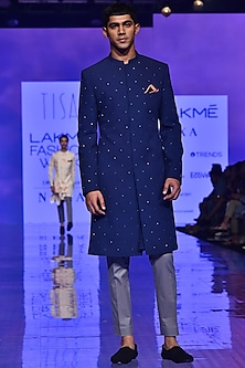 Navy Blue & Grey Metallic Embroidered Sherwani Set by TISA