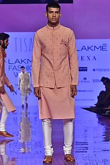 Dusky Pink & Ivory Embroidered Kurta Set by TISA