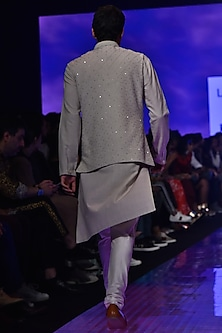 Stone Beige & Ivory Embroidered Sherwani Set by TISA