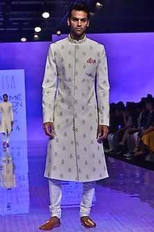 Ivory Embroidered Sherwani Set by TISA