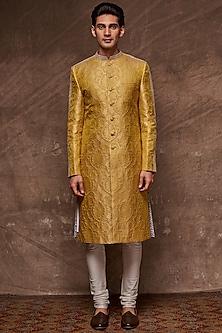 Mustard Embroidered Brocade Sherwani Set by TISA