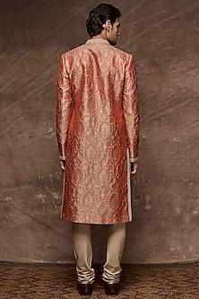 Rust Orange Embroidered Brocade Sherwani Set by TISA