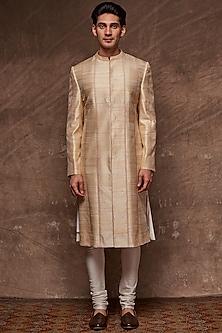 Beige Embroidered Panelled Sherwani Set by TISA