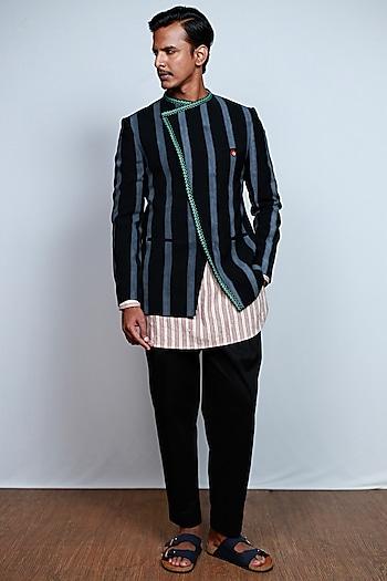 Black Printed & Embroidered Bandhgala Jacket by TISA
