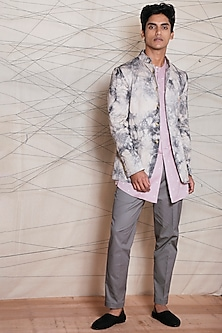 Beige Crushed Tied-Dye Printed Jacket by TISA