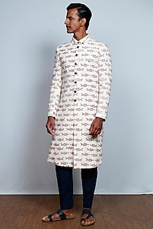 Cream Block Printed Jacket by TISA
