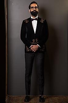 Black Embroidered Velvet Blazer by TISA