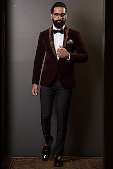 Burgundy Blazer With Embroidered Lapel by TISA