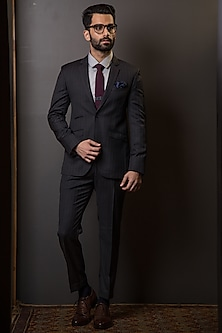 Charcoal Grey Pin-Striped Suit Set by TISA