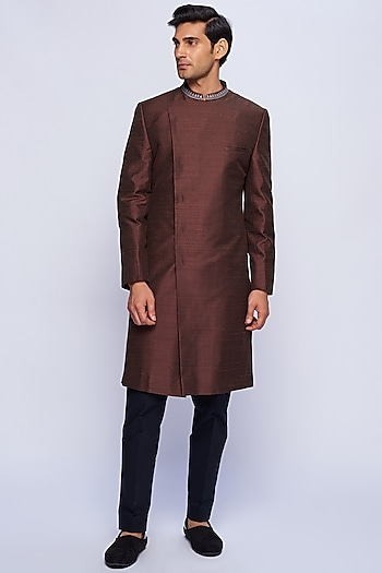 Brown Silk Embroidered Sherwani by TISA