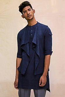 Indigo Blue Cotton Cape by TISA