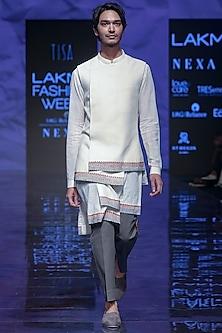 Ivory Embroidered Pre-Stitched Kurta Set With Bandi Jacket by TISA
