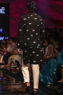 Black Embroidered Kurta Set WIth Bandi Jacket by TISA