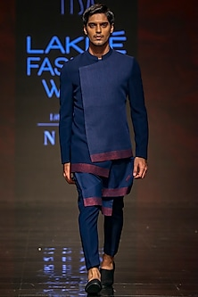 Navy Blue Embroidered Kurta Set With Bandhgala Jacket by TISA