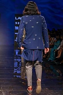 Navy Blue Kurta Set With Bandhgala Jacket by TISA