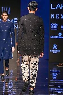 Black Bandhgala Jacket With Tie-Dye Printed Pants by TISA
