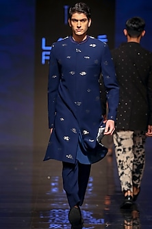 Navy Blue Embroidered Sherwani With Pants by TISA