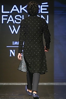 Black Embroidered Sherwani With Pants by TISA