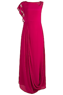 Pink Embroidered Draped Dress by Tisharth by Shivani