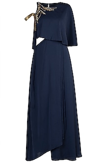 Navy Blue Embroidered Cape Dress by Tisharth by Shivani