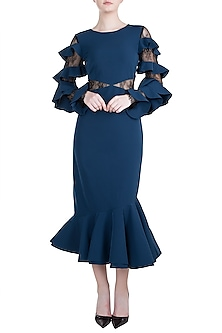 Midnight Blue Cut Out Dress by Tisharth by Shivani