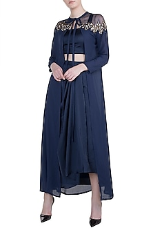 Navy Blue Embroidered Cape With Crop Top & Skirt by Tisharth by Shivani