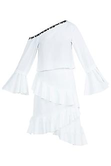 White Off Shoulder Shirt With Ruffled Skirt by Tisharth by Shivani