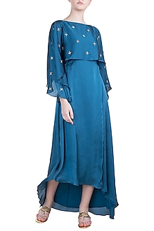 Teal Blue Embroidered Cape Dress by Tisharth by Shivani