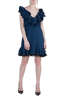 Midnight Blue Ruffled Mini Dress by Tisharth by Shivani