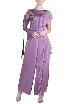 Lilac Embroidered Ruffled Jumpsuit by Tisharth by Shivani
