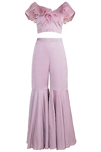 Dusty Pink Embroidered Crop Top With Flared Pants by Tisharth by Shivani