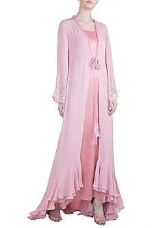 Dusty Pink Dress With Embroidered Cape by Tisharth by Shivani