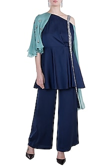 Navy Blue Embroidered Peplum Top With Pants by Tisharth by Shivani