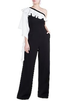 Black Jumpsuit With Ruffle Sleeve by Tisharth by Shivani