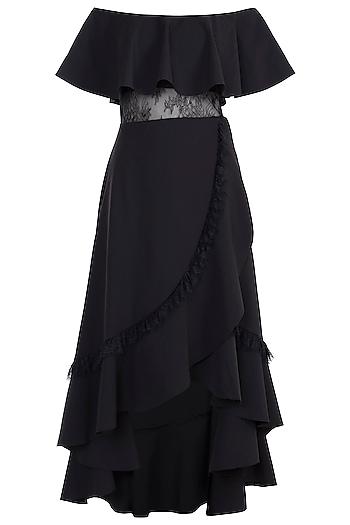 Black Off Shoulder Dress by Tisharth by Shivani