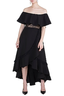 Black Off Shoulder Dress by Tisharth by Shivani