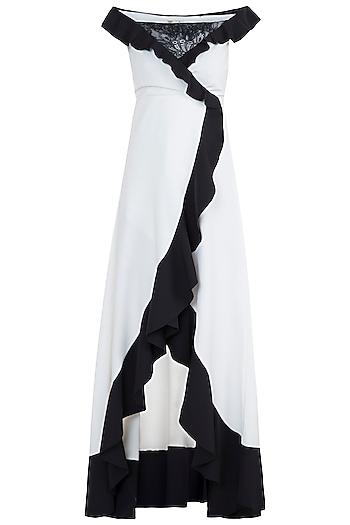 White Wrap Around Ruffled Dress by Tisharth by Shivani