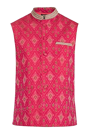Red Embroidered Nehru Jacket by Tisha Saksena Men