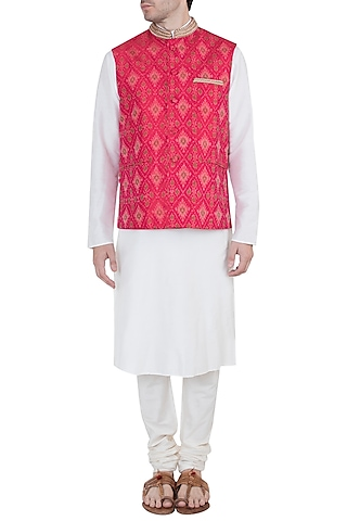 Red Embroidered Nehru Jacket by Tisha Saksena Men