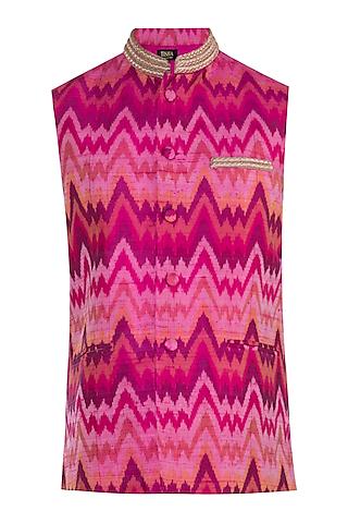 Pink Embroidery Nehru Jacket by Tisha Saksena Men