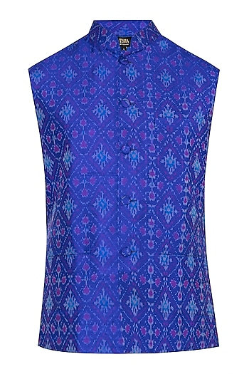 Blue Ikat Nehru Jacket by Tisha Saksena Men