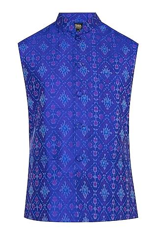 Blue Ikat Nehru Jacket by Tisha Saksena Men
