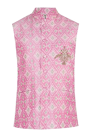Pink Embroidered Ikat Nehru Jacket by Tisha Saksena Men