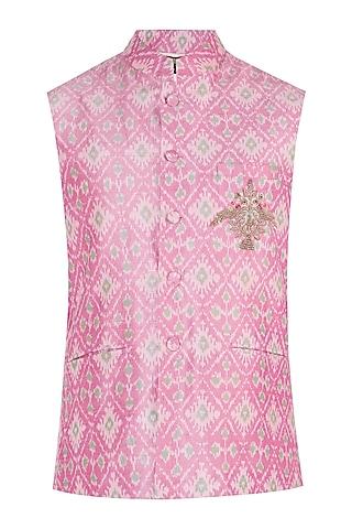 Pink Embroidered Ikat Nehru Jacket by Tisha Saksena Men